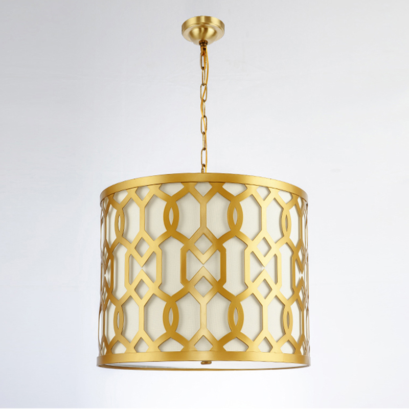 Modern Gold Drum Pendant Lamp E27 Bulb Creative Fabric Shade Suspension Light Bedroom Dining Room Kitchen Lighting Fixture PL645 lustre shade round pendant lamp suspension e27 bulb light lighting for living dining room restaurant bedroom study