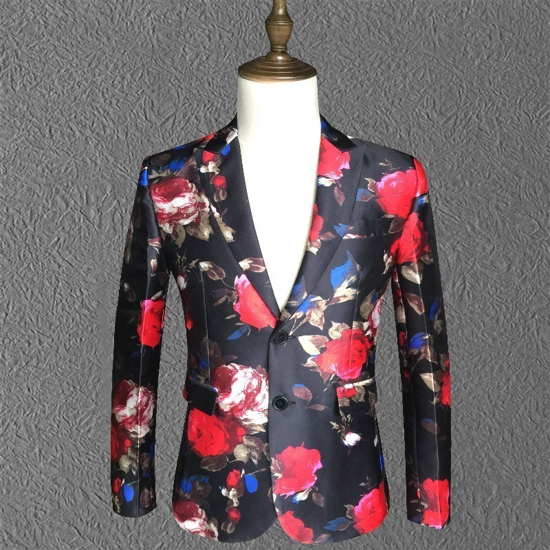 (Jacket +pant) Flower Suit Lasted Coat Pant Designs Elegant Men Suits Stage DJ Host Single Breasted 2 Button Suit Male 5xl