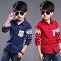 2016 Высокое Качество Мальчик С Длинными рукавами Рубашки Красный/Темно-Синий детская Одежда Случайный Тонкий Хлопок Рубашка Мужской Тонг Yinglun Стиль мода