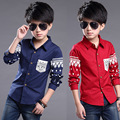 2016 Top Quality Boy Long-sleeved Shirt Red / Dark Blue Children's Wear Casual Slim Cotton Shirt Male Tong Yinglun Style Fashion