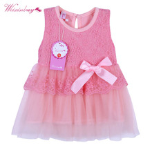 0-2 Years Gift Summer Lace Vest Girls Dress Baby Girl Cotton Chlidren Clothes Kids Party Clothing For