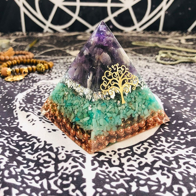 Orgonite Pyramid Jeremiel Ajna Chakra Natural Amethyst Amazonite Overcome Difficulties Resin Pyramid Crafts Decoration