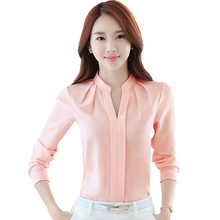 Loose Korean Fashion Blouse Femme Plus Size Top Pleated Womens Top And Blouses Long Sleeve Elegant Pullover Chiffon Blouse S-2XL цена 2017