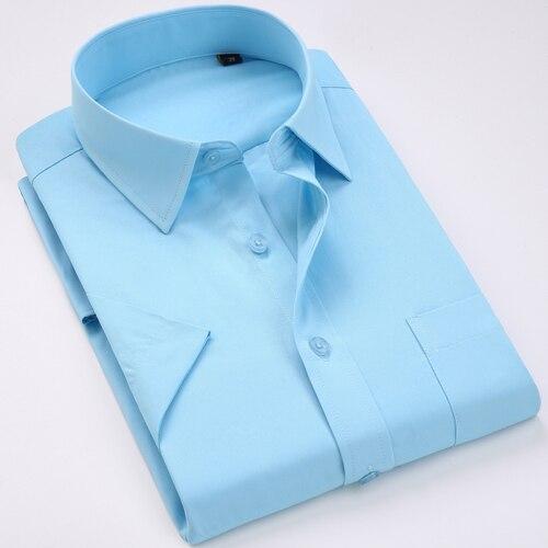 Men's Regular-fit Summer Short Sleeve Solid Classic Shirt Single Patch Pocket Formal Business Work Office Basic Dress Shirts 17