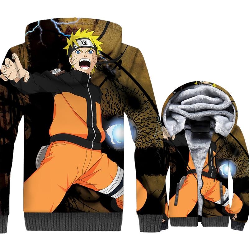 Uzumaki Naruto jackets men thick wool liner tracksuits harajuku hot Anime Naruto hooded hoodies 2019 winer 3D Printed swag coats