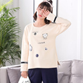 Ladies cute pajamas cartoon spring and autumn long-sleeved trousers Korean version of home clothing suit A9085