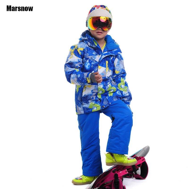 Prix pour 110-160 Veste d'hiver ensemble Bébé de sable pantalon Enfants sport coupe-vent imperméable chaud manteaux dropshipping neige combinaison de ski pour garçon