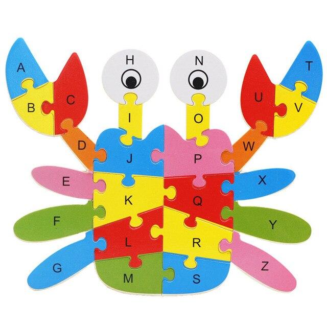 Детские Деревянные Игрушки Животных Краб Слон Лев Головоломки Номера Пазл-Алфавит Learing Развивающие Игрушки