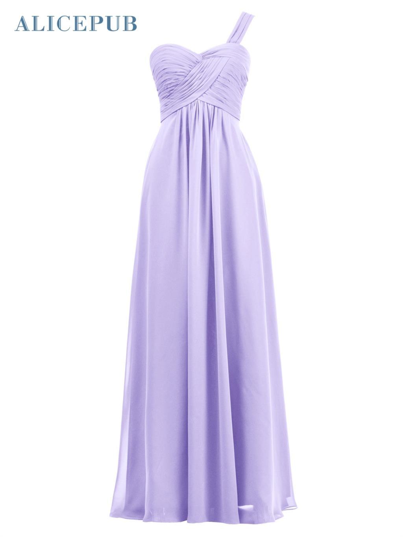 Alicepub A Line Vestidos de dama de Honor Larga de La Gasa vestidos ...