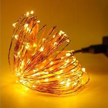 New String Lights 10M 100 Led USB Powered Outdoor Warm white/RGB led copper christmas festival wedding party decoratio