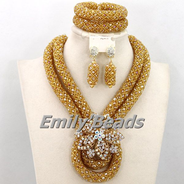2016 Charming African Costume Jewelry Set Handmade Crystal Beads Jewelry Set Nigerian Fashion Bridal Necklace Sets AEJ735