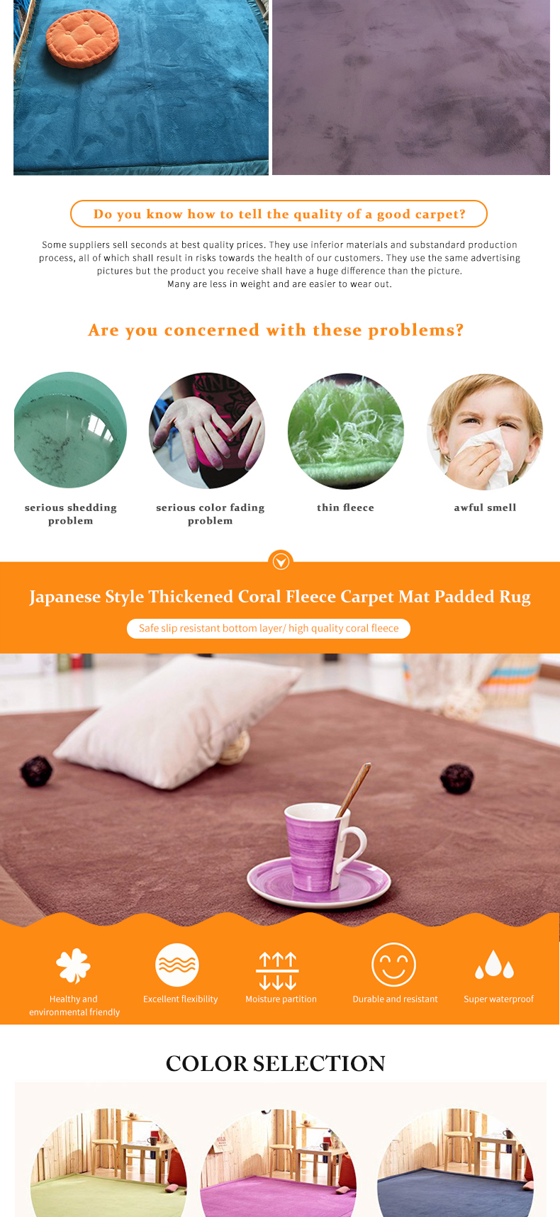 Thick Coral Fleece Mat Carpet Tea Table Carpet