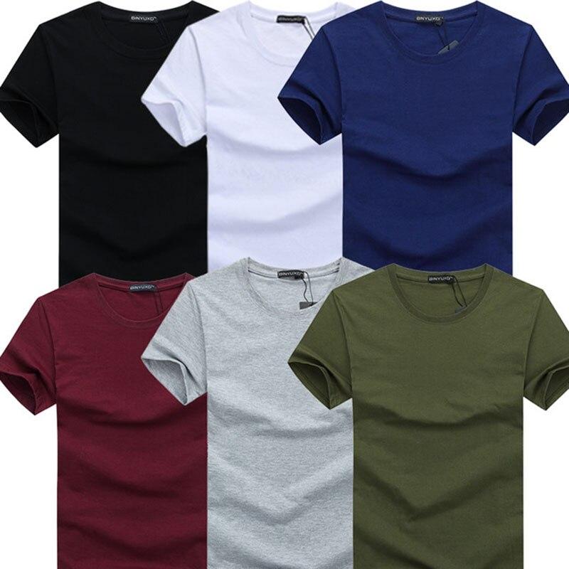 Мужская футболка с коротким рукавом, повседневная облегающая футболка в Корейском стиле с круглым вырезом, 6 шт./лот, 3XL, 4XL, 5X, 2019