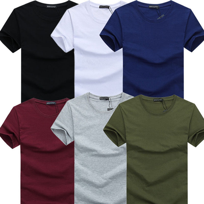 2019 6pcs/lot New Fashion Brand O-Neck Slim Short Sleeve   T     Shirt   Men Trend Casual Mens   T  -  Shirt   Korean   T     Shirts   3XL 4XL 5X