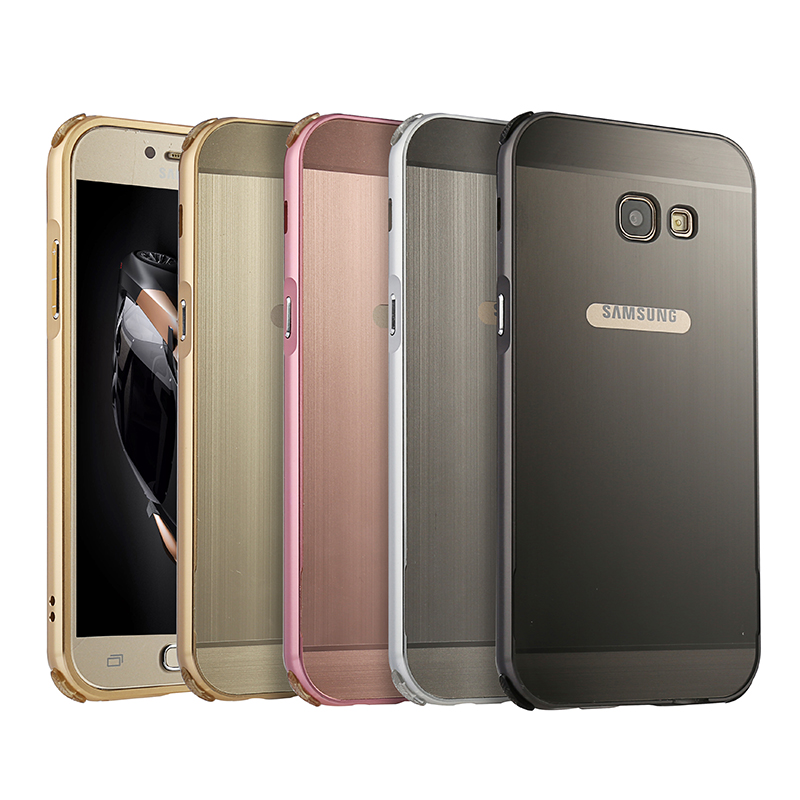 For <font><b>Samsung</b></font> <font><b>A5</b></font> <font><b>2017</b></font> A520 Case Plating Metal Frame with Brushed Back Cover Hard Case for <font><b>Samsung</b></font> <font><b>Galaxy</b></font> <font><b>A5</b></font> <font><b>2017</b></font> A5200 <font><b>A520F</b></font> 5.2