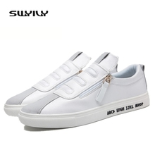 SWYIVY White PU Skateboarding Shoes For Men Low-cut Breathable Side Zip Autumn Men Sneakers Students Sports Shoes Zapatillas