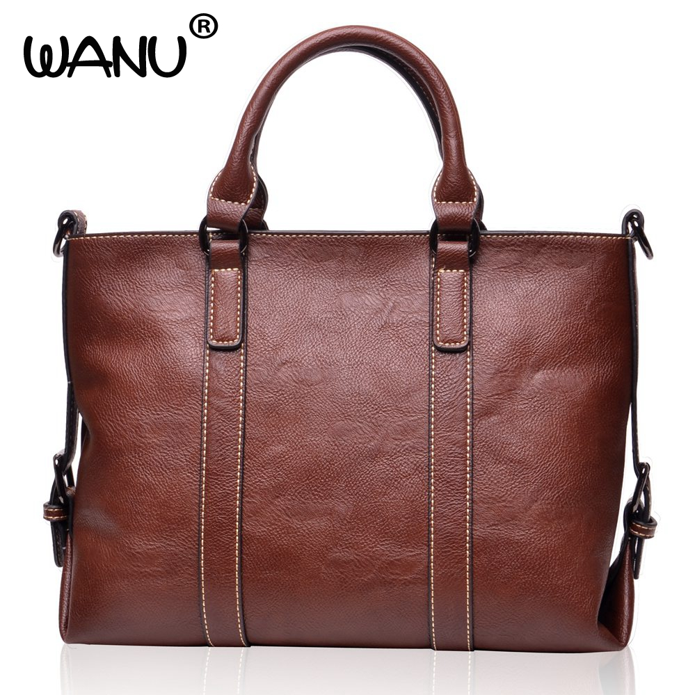 WANU Brand Women's Leather Shoulder Bag Soft Handbag and Tote Casual Female Purse women crossbody bags gift for wife girl friend women handbag shoulder bag messenger bag casual colorful canvas crossbody bags for girl student waterproof nylon laptop tote