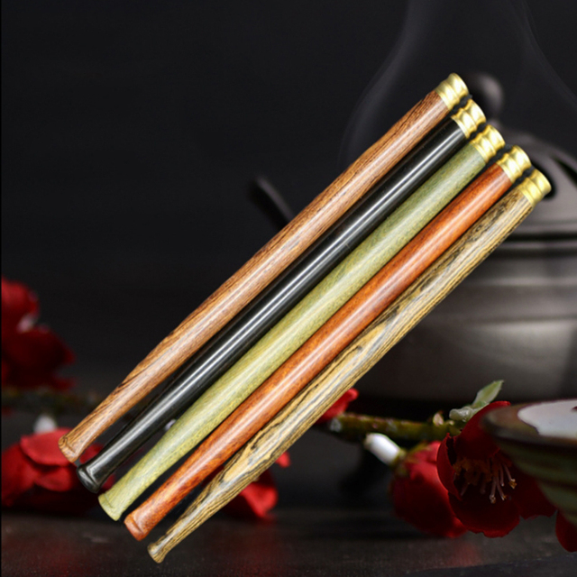 Natural Long 20cm Sandalwood Double Filter Cigarette Holder Pipes Smoking  Pipe Tobacco Mouthpiece Smoke
