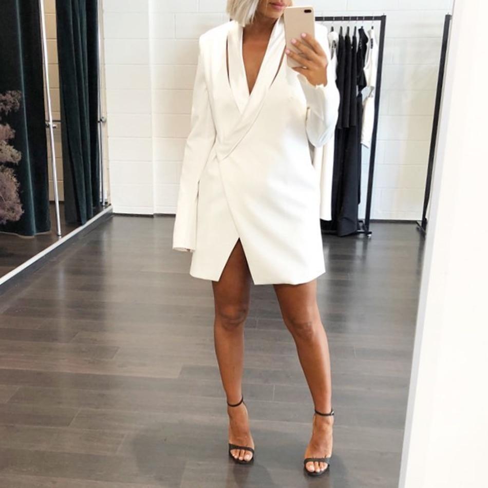D'hiver Partie Automne Femme Blanc Sexy Longues White Manches Nuit Mini Robes Moulante Profonde Robe Hiver V Dressbird Femmes xpZ77