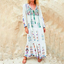 Boho Dresses European New style 2017 Spring Summer Women Flower Embroidery White Loose Maxi Long Chic Beach Dress Female Vestido