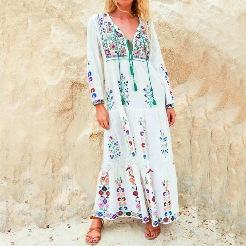 Boho Dresses European New style 2019 Spring Summer Women Flower Embroidery White Loose Maxi Long Chic Beach Dress Female Vestido