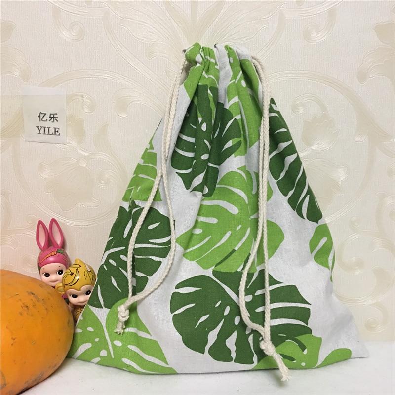 YILE 1pc Cotton Linen Drawstring Multi-purpose Organizer Shoes Bag Big Green Leaf 8123 E