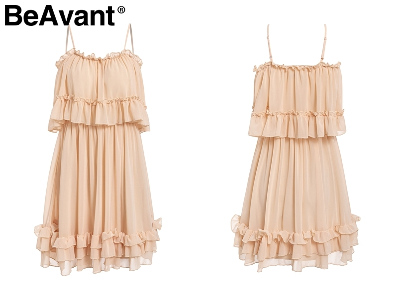 HTB1yQdfQmzqK1RjSZFpq6ykSXXay - BeAvant Off shoulder strap chiffon summer dresses Women ruffle pleated short dress pink Elegant holiday loose beach mini dress