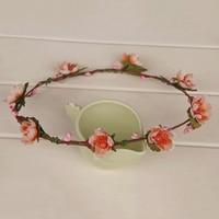 Solid Artificial PE Cherry Blossom Flowers Headband Floral Wedding Headpiece Hair Wreath Practical