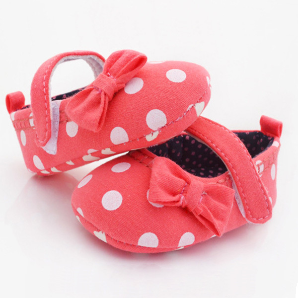 Hot Sales Toddler Infant Baby Girls Shoes Dots Bowknot Soft Sole