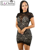 La Chilly High Quality Women Fashion 2018 Sundress Summer Ladies Dresses Black Lace Sexy Bodycon Backless