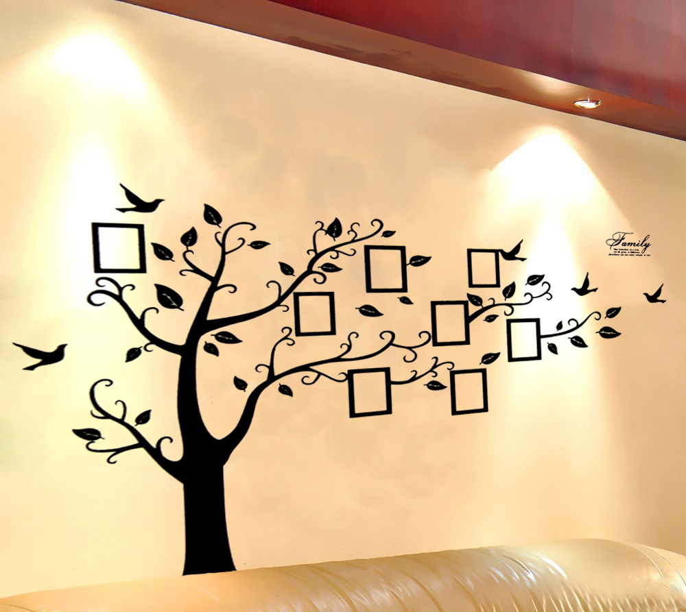Large Black 3D DIY Photo Tree PVC Wall Decals/Adhesive Family Wall ...