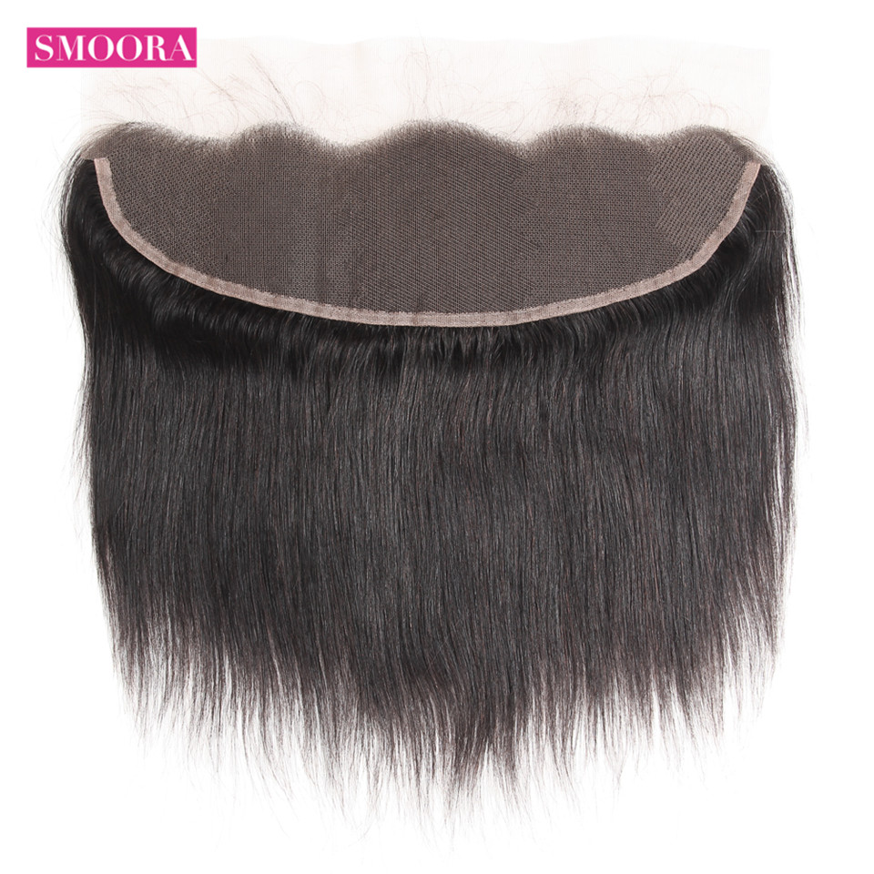 Smoora Ear to Ear Lace Frontal Closure with Baby Hair Pre Plucked Brazilian Straight Human Hair