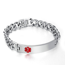Korean Version of Stainless Steel Medical Signs Curved Round Bead Mens Bracelet Jewelry