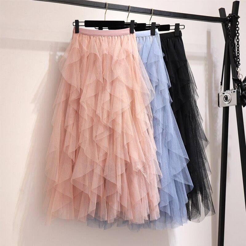 Summer Skirts Womens Fashion Irregular Mesh Tulle Skirt Elastic High Waist Mid Calf Tutu Long Skirt Women 2019 Ladies Skirts