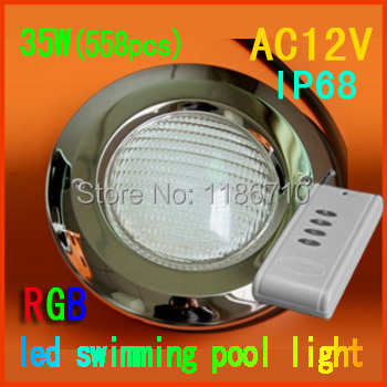 Factory Direct Sale 35W 558pcs RGB Embedded Swimming Pool Light Underwater LED Pool Lamp With Remote