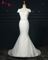 Jark Tozr Vestido De Noiva De Renda Cap Sleeve Beading Pearls Ivory Lace Princess Mermaid Wedding Dress 2018 Abiti Da Sposa