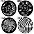 1 pcs redonda de aço inoxidável Nail Art Stamping Plates DIY selos de impressão Nail Art Design Manicure unha polonês Template Stencil