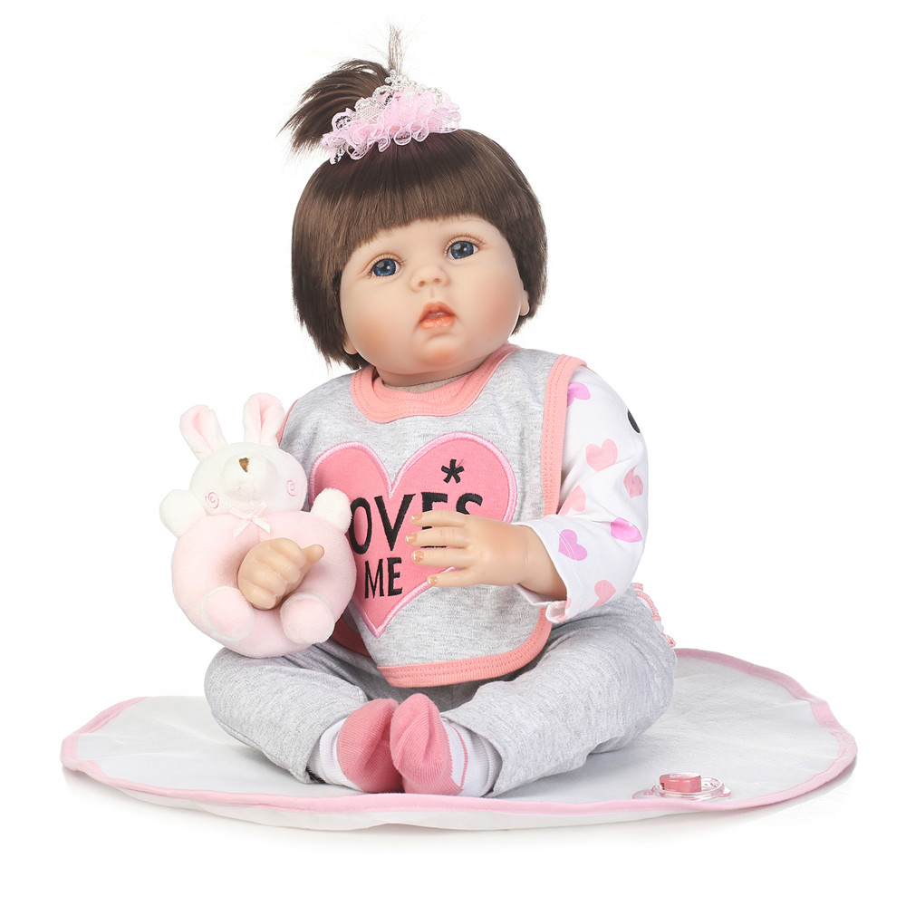Baby doll reborn 22 55cm silicone reborn baby girl dolls lifelike child bebe gift reborn bonecas rooted hair with rattleBaby doll reborn 22 55cm silicone reborn baby girl dolls lifelike child bebe gift reborn bonecas rooted hair with rattle