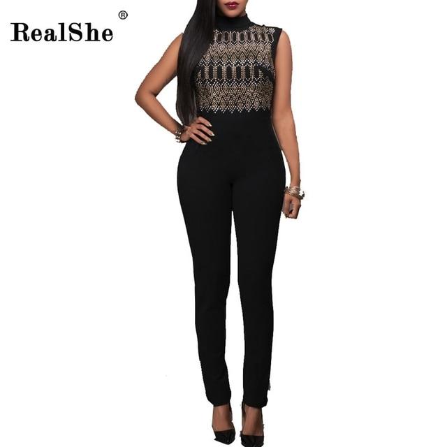 RealShe Комбинезоны Для Женщин Женщина Блестками Комбинезоны 2017 Водолазка Bodycon Комбинезон Тонкий Черный Комбинезоны Женщины Комбинезон