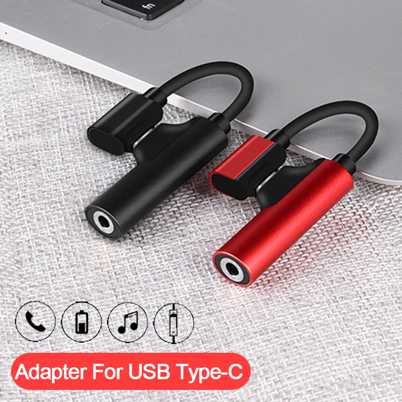 2 In 1 Audio Adapter For Huawei Mate 20 Pro Xiaomi 8 6 Charging Audio Charger Adapter For USB Type C Jack To Earphone Splitter