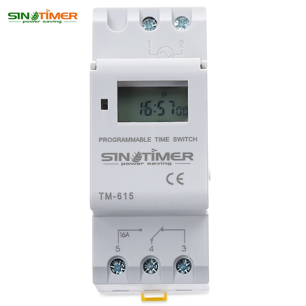 SINOTIMER Brand Microcomputer Electronic Programmable Digital TIMER SWITCH Time Relay Control 110/220V AC 16A Din Rail Mount thc15a zb18b timer switchelectronic weekly 7days programmable digital time switch relay timer control ac 220v 30a din rail mount