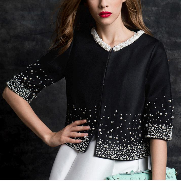 autumn coat short design Women Outerwear Elegant Beaded Diamond slim three quarter sleeve Small jacket