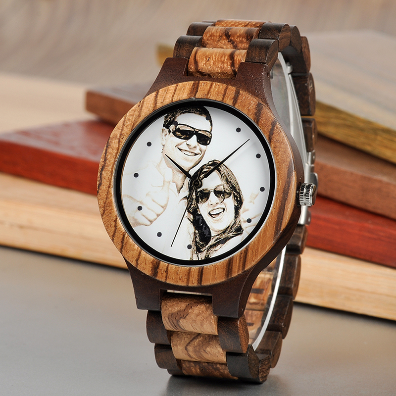 BOBO BIRD Personal Photo Print Customized Wood Watch with Gift Box 17