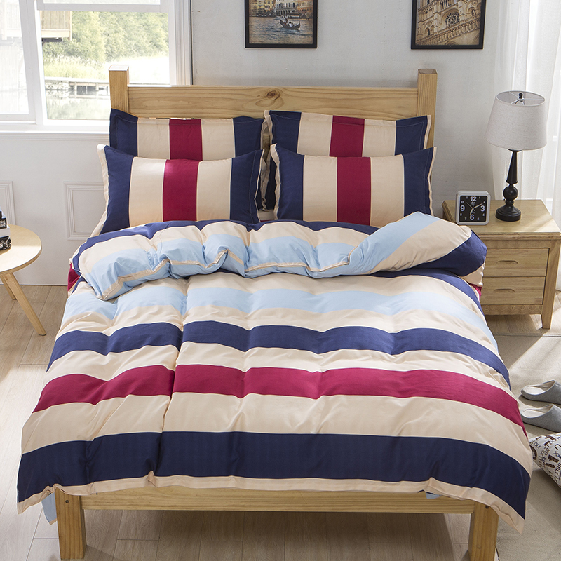 Wholesale Price Desinger Striped Plaid Muji Style Bedding Set Bright Color Comforter Sets