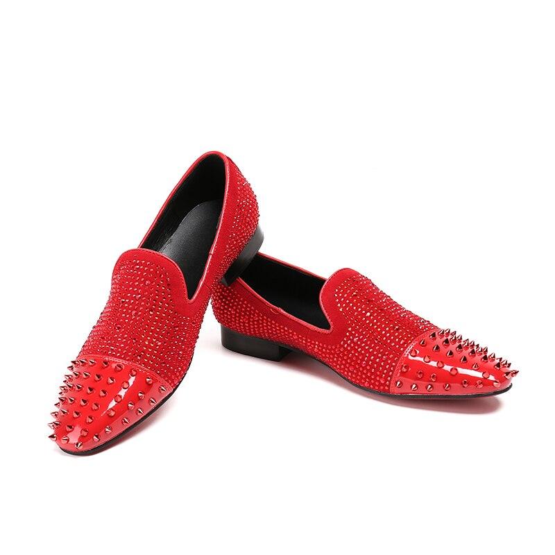 Homme 46 Negro Conducción Rojo Slip On Boda Chaussure Zapatos Hombre Pico rojo Tamaño Mocassin Cristal Casual Lujo Grande Hombres Negro Los De oro 8qAwR6xTw