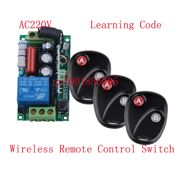 220V 1ch Wireless Remote Control Switch Lighting Control Power Switch 1 Receiver &3 Transmitter Learning Code 315/433MHZ z-wave remote switch 12v dc rf wireless 4 receiver 3 transmitter lighting digital switch learning code toggle momentary 315 433 92mhz
