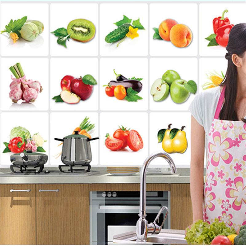 2018 New 3D DIY Vinyl Oil-proof Kitchen Wall Stickers Vegetable Fruit Poster Tile Mural Home Decoration Removable Wall Decals リビング シャンデリア
