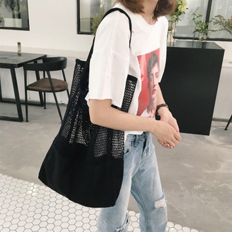 2019 fashion female foldable convenient beach bag reusable tote shoulder portable mesh hollow shopping