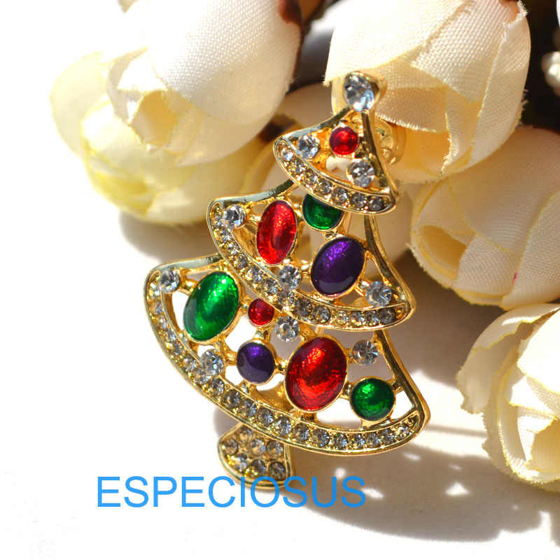 Elegan Pin Warna Emas Pohon Natal Wanita Hadiah Natal Pakaian Payudara Pin Aksesoris Perhiasan Dicat Bros Berlian Imitasi