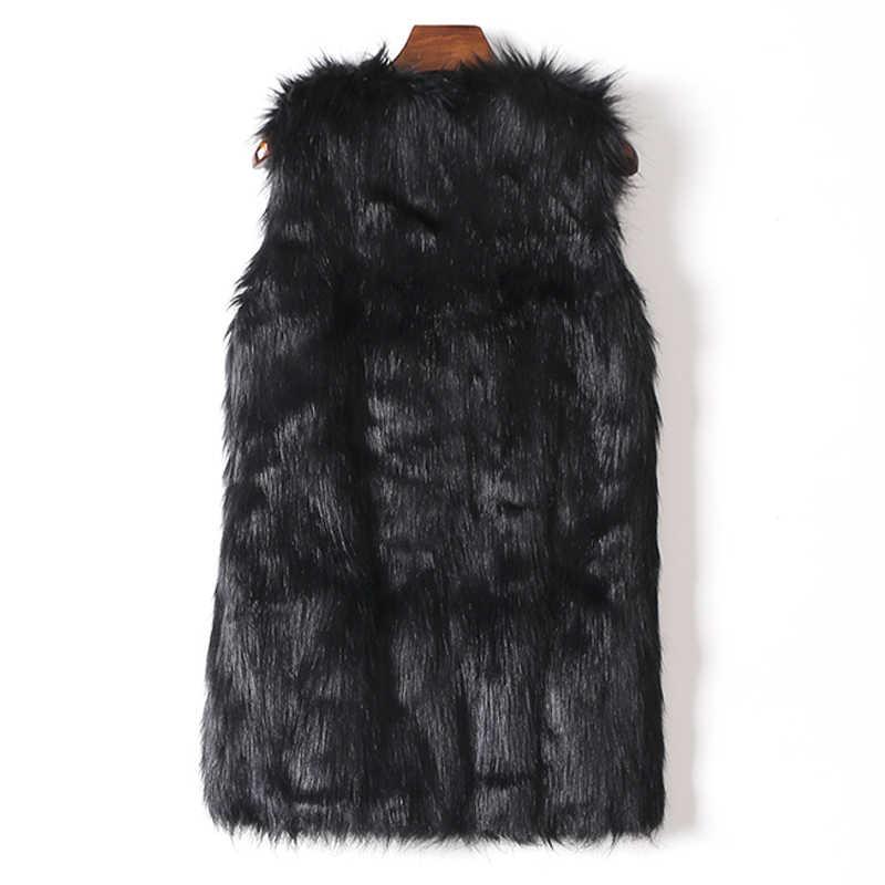 Chaleco sin mangas de las mujeres de piel de imitación chaleco Slim largo abrigo XXL gilet fourrure de piel de conejo mujer chaleco chalecos para mujer